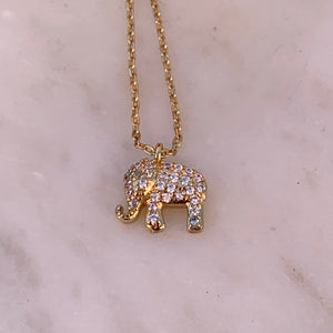 Gold Tone Tiny Elephant Charm Necklace With Pave Crystals
