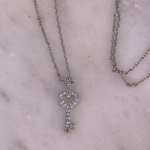 Silver Tone Tiny Key Charm Necklace With Pave Crystals