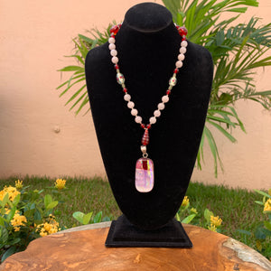 Glass And Rose Quartz Beaded Pendant Hand-Crafted Artisan Necklace