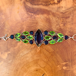 Statement Bracelet With Purple, Green, and Red Stones