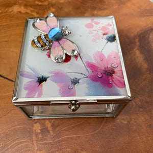 Enamel and Crystal Bee with Flower Design Glass Jewelry/ Trinket Box