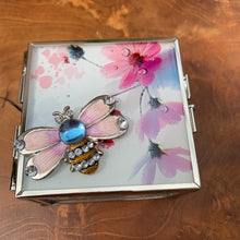 Load image into Gallery viewer, Enamel and Crystal Bee with Flower Design Glass Jewelry/ Trinket Box