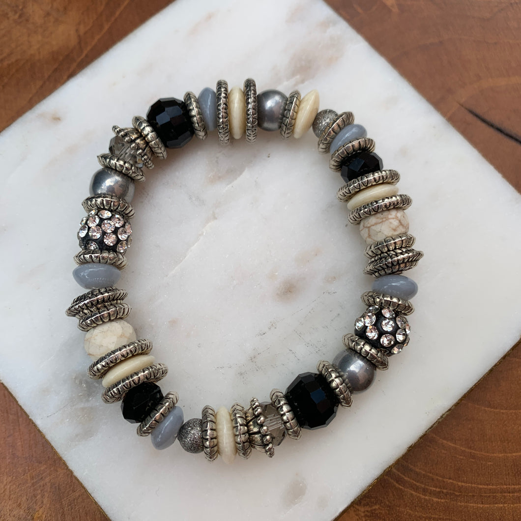 Genuine Stone Beaded Stretch Bracelet Black and White
