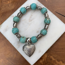 Load image into Gallery viewer, Turquise Stone Beaded Stretch Bracelet Heart Locket Dangle