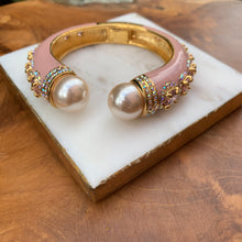 Load image into Gallery viewer, Enamel Pale Pink Ornate with Pink Cubic Zirconia and Pearl Bracelet