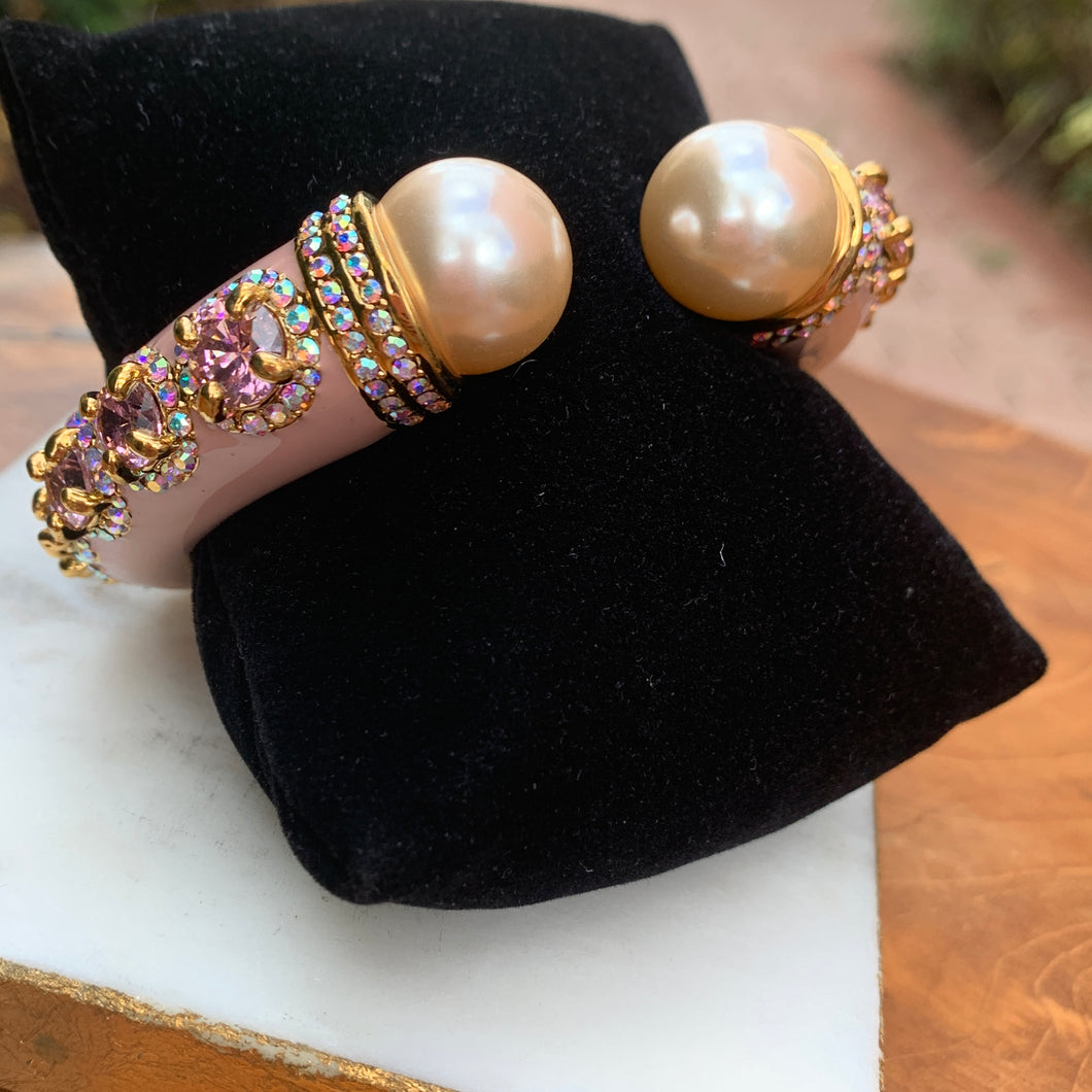 Enamel Pale Pink Ornate with Pink Cubic Zirconia and Pearl Bracelet