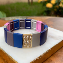 Load image into Gallery viewer, Color Block Stretch Bracelet with Gold and Crystal Accent Style 2