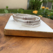 Load image into Gallery viewer, Hammered Silver Tone Wrap Bracelet
