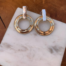 Load image into Gallery viewer, Two Tone Hammered Earrings