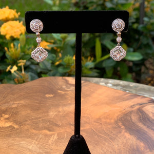 Silver Tone with Cubic Zirconia Drop Earrings