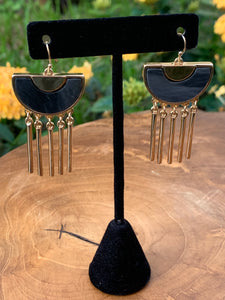 Gold Tone with Grayish Blue Acrylic Insert Dangling Earrings
