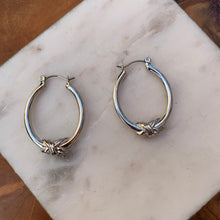 Load image into Gallery viewer, Silver Tone Knot Hoop Earrings