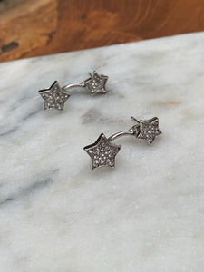Cubic Zirconia Pave Front to Back Star Earrings