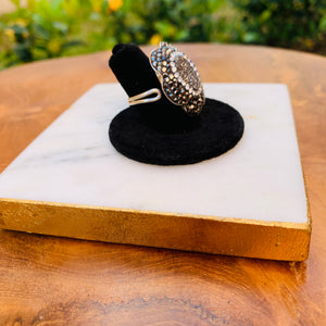 Silver Tone Hematite and Marcasite Flower Shaped Ring Size 5 Adjustable