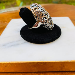 Silver Tone Oval Filigree Ring Size 7
