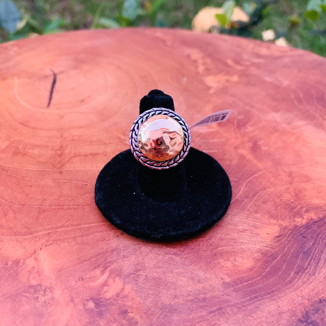 Two Tone Hammered Designer Inspired Ring Size 5