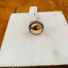 Load image into Gallery viewer, Two Tone Hammered Designer Inspired Ring Size 5