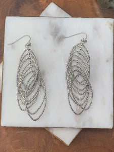 Silver Tone Sparkly Multi Drop Earrings