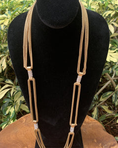 Gold Tone with Pave Crystal Stations Necklace