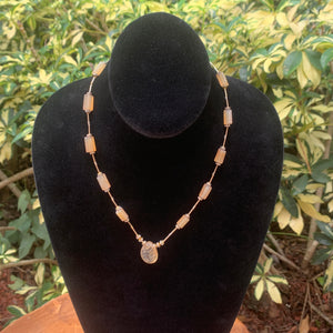Lemon Quartz and Crystal Bead Hand Crafted Necklace