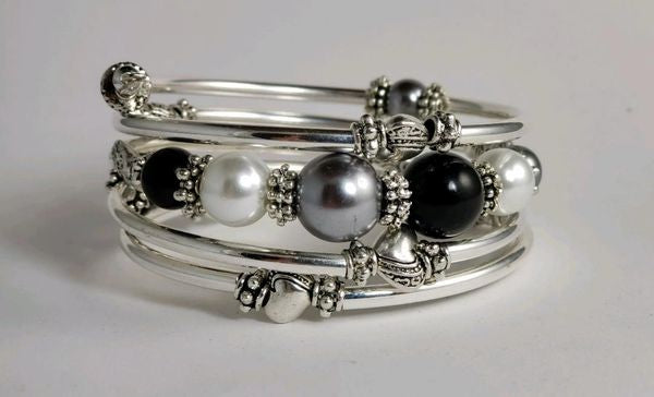 Wire Twist Bracelet- Black, Gray and White Pearl