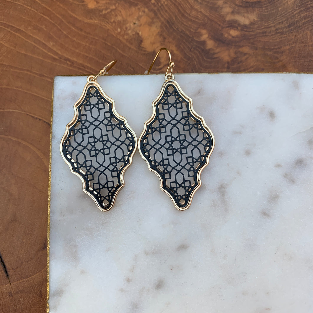 Black and Gold Cut Out Filigree Drop Earrings