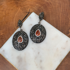 Hematite With Red Jasper Oval Drop Earrings