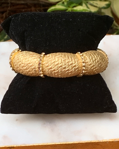 Gold Textured Bracelet with Gold Colored Crystals Stretch