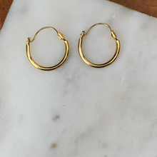 Load image into Gallery viewer, Small Gold Tone Thin Hoop Earrings