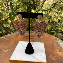 Load image into Gallery viewer, Large Gold Tone Crystal Covered Heart Earrings