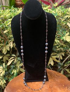 Purple Crystals by the Yard with Gray Stationed Pearl Accents Necklace