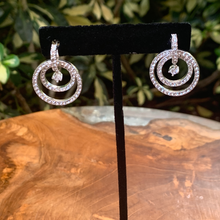 Load image into Gallery viewer, Double Cubic Zirconia With Floating Stone Drop Earrings