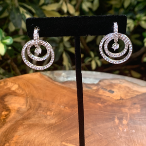 Double Cubic Zirconia With Floating Stone Drop Earrings