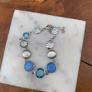 Silver Tone Bracelet with Clear and Blue Tones Crystal Drops