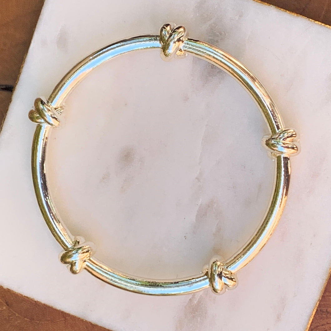 Metal Silver/Gold Tone Stacking Knot Bracelet