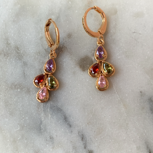 Gold Tone with Semi Precious Stone Dangle Earrings