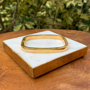 Gold Tone Squared Modern Magnetic Bangle Bracelet
