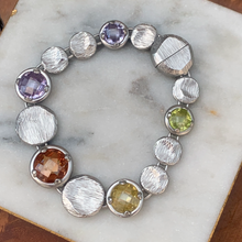 Load image into Gallery viewer, Silver Tone Magnetic Designer Inspired Colored Faceted Gemstone Bracelet