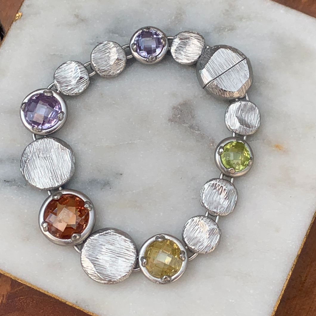 Silver Tone Magnetic Designer Inspired Colored Faceted Gemstone Bracelet