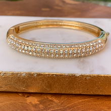 Load image into Gallery viewer, Gold Tone Push Button Bangle with Crystals