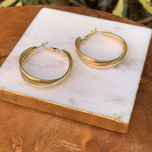 Load image into Gallery viewer, Twisted Gold Tone Hoop Earrings