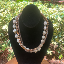 Load image into Gallery viewer, Three Strand Aquamarine, Pearls, Crystals, Pewter Hand Crafted Necklace