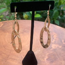 Load image into Gallery viewer, Antiqued Color Gold Double Oval Hammered Earrings