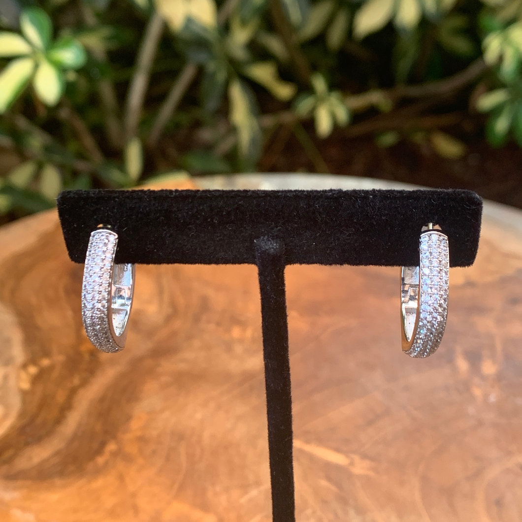 Silver Tone With Micro Pave Crystal Hoop Earrings
