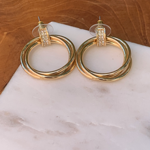 Load image into Gallery viewer, Gold Tone Three Ring With Crystal Accents Drop Earrings