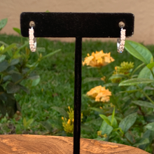 Load image into Gallery viewer, Sterling Silver Huggie Earrings with Cubic Zirconia