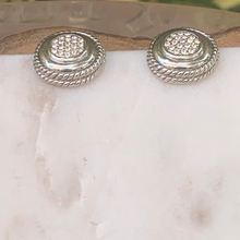 Load image into Gallery viewer, Designer Inspired Silver Tone Circle Post Earrings with Crystals