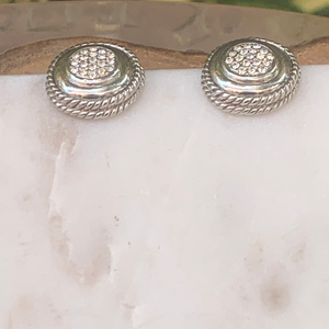 Designer Inspired Silver Tone Circle Post Earrings with Crystals