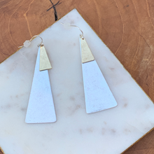 Load image into Gallery viewer, Two tone Triangle Shape Drop Earrings