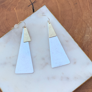 Two tone Triangle Shape Drop Earrings